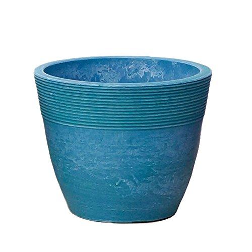 【Planterior】 ハイドロカルチャーに の鉢 ストーンウッドポット M 各色 (ライトブルー)