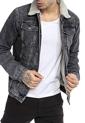 Redbridge Jeansjacke für Herren Jacke Denim Gefüttert Winter Herbst Übergangszeit Schwarz XL