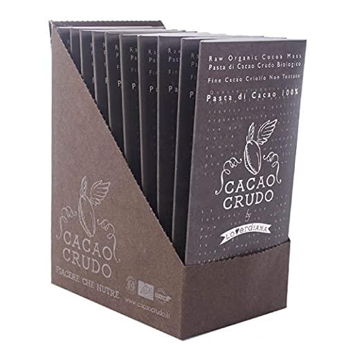 Cacao Crudo CiboCrudo – Confezione da 10 Tavolette di Cioccolato Fondente al 100%, Amaro, Puro al 100% Senza Zucchero, Poche Calorie e il Gusto Vero del Cacao, Cioccolato Extra – 50 gr