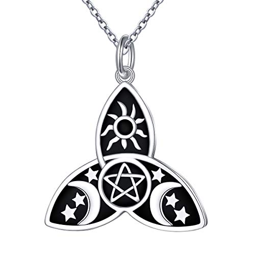 S925 Sterling Silver Moon Pentagram Pentacle Necklace Pagan Wicca Viking Pendant Necklace Halloween