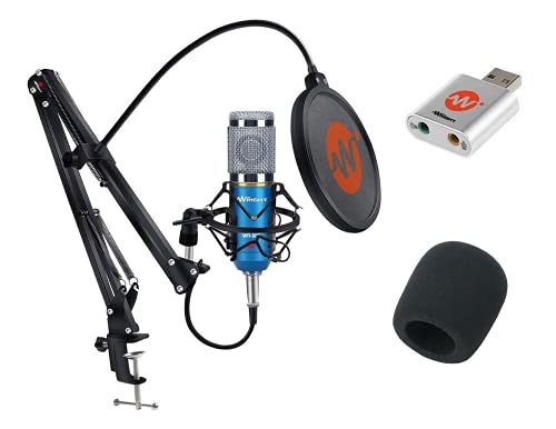 WRIGHT WR BM 800 Condenser Microphone with USB Sound Card Mic Stand and POP Filter for Podcast and Studio Recording Singing Condenser mic All Full Set Kit (Blue)