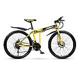 Bicicleta Montaña De 24 Pulgadas,Bicicleta Todoterreno Hombres Velocidad Variable Plegable Para Exteriores, Frenos De Disco Doble Y Cuadro Acero Al Carbono,21/24/27/30 Velocidades,Amarillo,21 speed