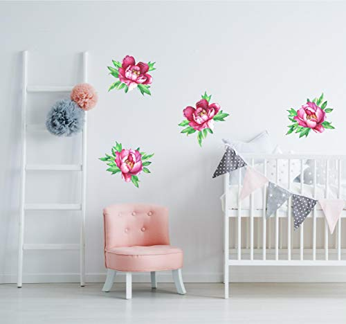 Flowering Pink Peonies Wall Decal 12' Sticker Set Floral Wall Mural Girls Nursery Room Decor Removable Wallpaper Baby Shower Gift