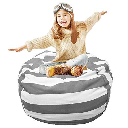 Holdfiturn Kids Bean Bag Large Stuffed Animal Toy Storage Bean Bag Organizer Kids Soft Seat Cover (Gray)