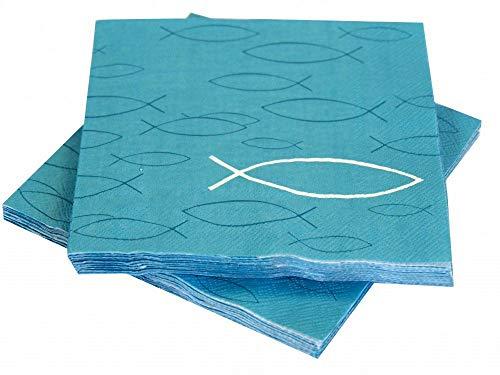 Unbekannt Servietten Fisch Petrol Blau Tischdeko Kommunion Konfirmation 20 Stück