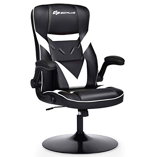 Goplus Rocker Gaming Chair, Racing Style Computer Office Chair with Adjustable Armrest and Lumbar Support, Ergonomic Swivel High Back PU Leather Rocking Gaming Chair (White)