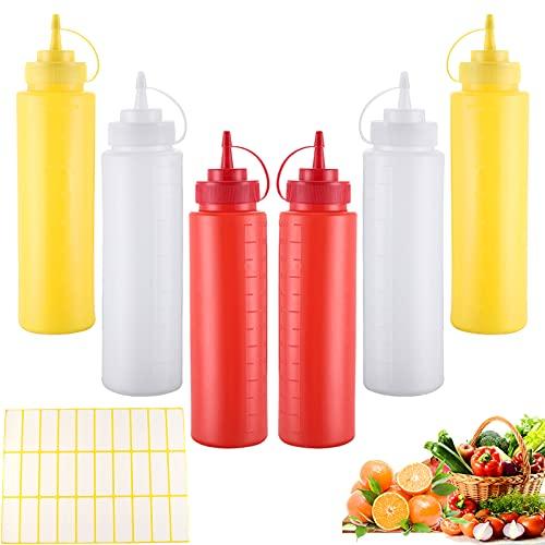 6 Pezzi Bottiglia Squeeze di Plastica Trasparente Condimento Dispenser 250ML Flacone Dosatore Plastica con Tappi Dispenser in Plastica per Salsa Condimento Ketchup Sciroppo