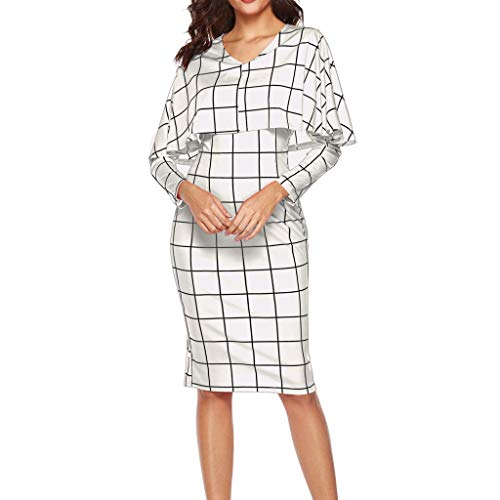 dumanfs Women Elegant Flounce Flared Office Business Dress Classical Plaid Long Sleeve Cloak Style Party Dresses