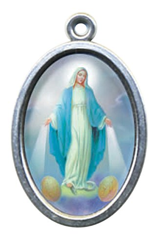 """1""""nuestra Señora Milagrosa color plata Metal medalla colgante–esmaltado Icon"""