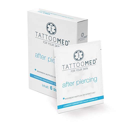 TattooMed Verzorging voor de gepierkte huid – After Piercing hygiënedoekje, reiniging en verzorging van de huid en de sieraden – 6 stuks