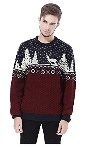 V28 Men's Christmas Reindeer Snowman Penguin Santa and Snowflake Sweater (Large, ReindeerFS)