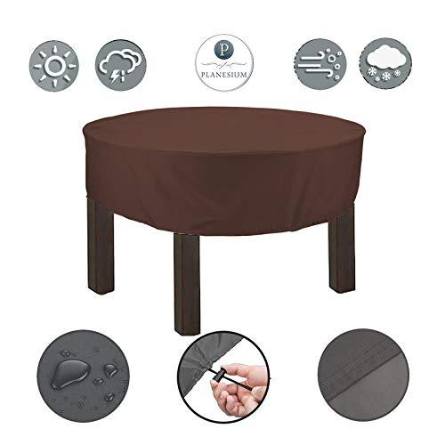 Planesium Premium dekzeil tuintafel ROND afdekhoes ronde tafel afdekking beschermhoes garnituur tuinmeubelset scheurvast ademend waterdicht (Ø 150cm x 15cm, Brown)