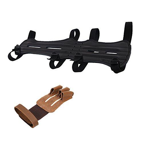 MagiDeal Piel Tiro con Arco Protección Brazo con 4Correa + Tiro Arco Guante Mano Chuh, Sport 3Dedos Guantes