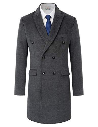 PAUL JONES Mens Double Breasted Trenchcoat Notch Lapel Long Thermal Overcoat S Dark Grey