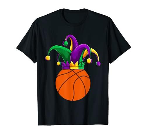 Funny Jester Basketball Mardi Gras ropa, hombres niños niños Camiseta
