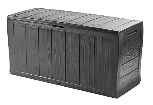 Keter Kofferraum aus Resin aus Paneelen in Holzoptik, inklusive Rollen, abschließbar, 117 x 45 x 57,5 cm, 270 Lt, Graphitgrau