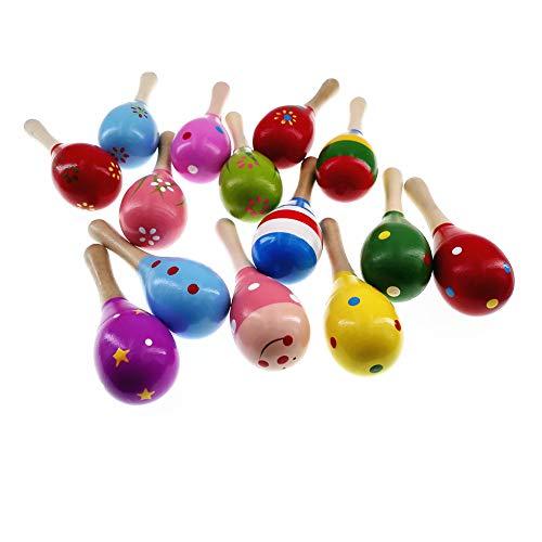 MULOVE 4 pezzi di legno maracas percussioni sonaglio shaker martello di sabbia strumento musicale giocattoli educativi per bambini, modello casuale