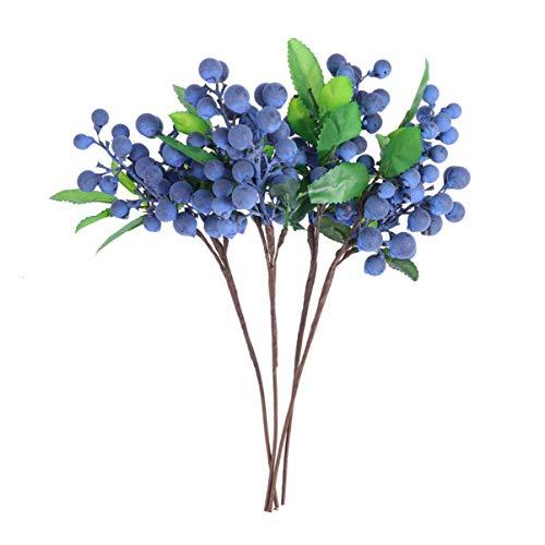 Healifty künstliche Berry Picks Blaue Beere stammt Weihnachtsbaum Kranz Ornament für Scrapbooking Dekoration Mini schießen Requisiten 4 stücke