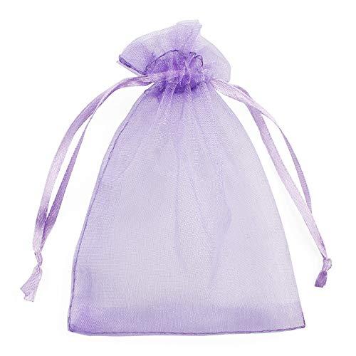 10 unidades (6 tamaños) Organza bolsas de regalo para joyas, bodas, decoración, preferibles, bolsas de regalo para fiesta de bebé, color lila claro, 7 x 9 cm