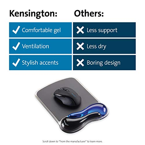 Kensington Mouse Mat with Wrist Rest – Ergonomic duo gel wrist support for computer / laptop use with laser and optical mice. Anti-slip comfortable mouse mat with cool gel - Blue (62401)