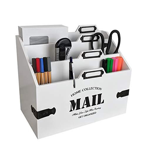 Holz Schreibtischorganizer 'Mail' mit 3 Holztaschen Weiß - Briefhalter Briefständer Briefablage Postablage