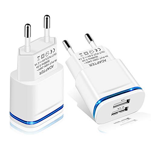 LUOATIP USB Ladegerät 2.1A/5V 2-Pack Ladeadapter 2-Port Netzteil Stecker Adapter Steckdose Stromadapter Netzstecker Ladestecker kompatibel für Phone 11Pro max/X 8/7/6, Samsung Galaxy, Huawei, Handy