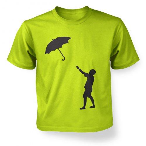 Banksy Regenschirm Boy Katrina – Kinder-T-Shirt Gr. Small, Kiwi