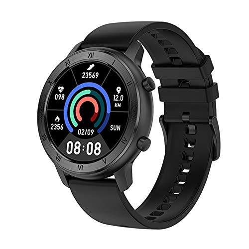 Reloj inteligente de tacto completo para mujer, IP68, pulsera impermeable, ECG, monitor de ritmo cardíaco, monitoreo del sueño, reloj inteligente deportivo para mujer (color negro de silicona)