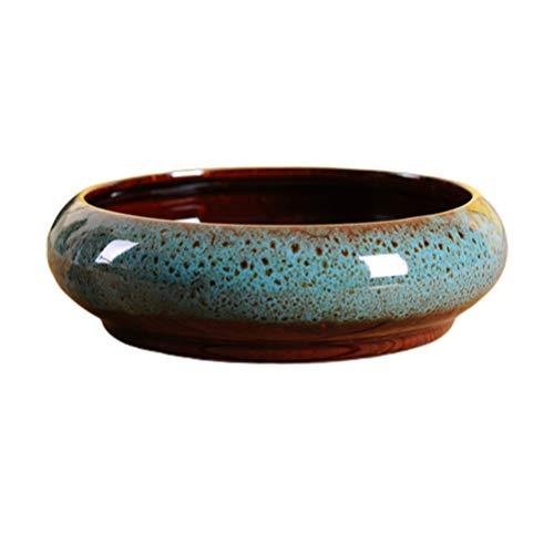 Cabilock Vaso da fiori in ceramica per bonsai, rotondo, per laghetto da terrazzo, per gigli, ninfea, Lysimachia, per esterni, fiori, piante, giardino, balcone, colore casuale