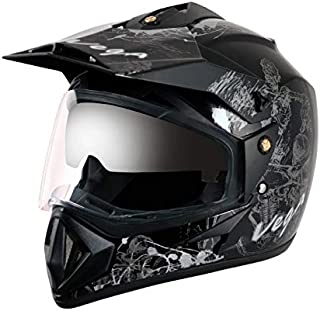 Off Road D/V Sketch Black Silver Helmet-L
