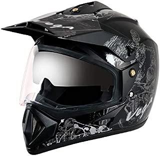 Vega Off Road OR-D/V-SKT-KS_M Sketch Full Face Graphic Helmet (Black and Silver, M)(Size : 57-59cms)