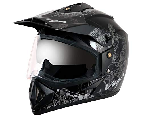 Vega Off Road OR-D/V-SKT-KS_L Sketch Full Face Graphic Helmet (Black and Silver,...