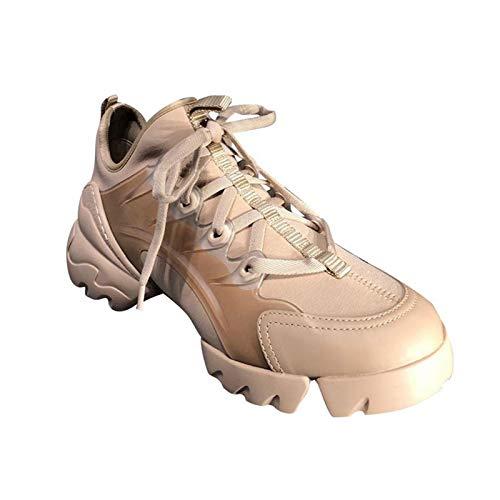 HaoLin Mujer Zapatillas Deportivas Zapatillas Deportivas Zapatillas Deportivas para Caminar Zapatillas Ligeras,Beige-39 EU