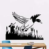 Etiqueta De La Pared De Pvc Etiqueta De La Pared Extraíble Caza Escopeta Pato Hogar Sala De Estar Art Deco Cazador Y Pato Animal Art 57X42Cm