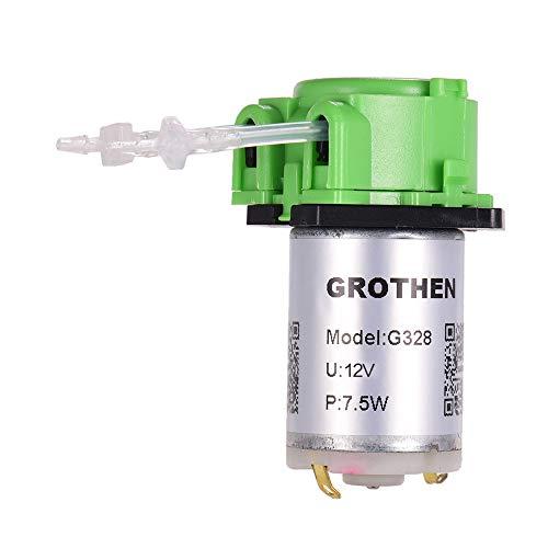 Aibecy DC 12V Bomba dosificadora Bomba peristáltica Mini agua Bomba líquida Cabezal de tubo peristáltico Función de autoaspiración para químicos de laboratorio para acuarios, estilo de panel plano