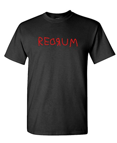 The Goozler Redrum - 80's Horror Movie Kubrick Murder - Cotton T-Shirt, XL, Black USA Made