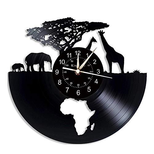 NIUYGB Reloj de Vinilo LED decoración Original del Reloj de Pared del Disco de Vinilo del zoológico.