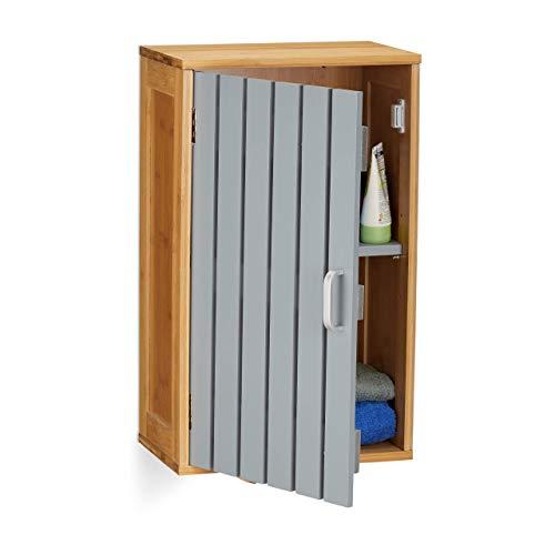 Relaxdays Hängeschrank Bad, 2 Fächer, höhenverstellbarer Einlegeboden, Bambus, MDF, HxBxT: 50 x 30 x 19 cm, natur/grau
