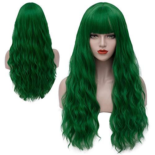 Rosahaar Perücke Grün Lange Damenperücke Wellenförmige Mode Locken Perücken mit Pony Synthetische Wig VD002B
