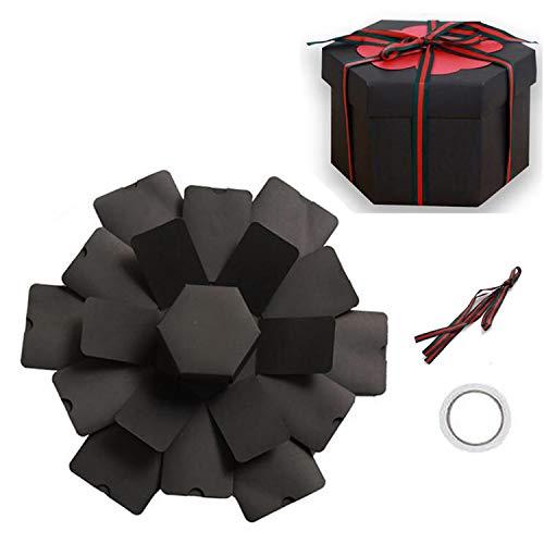 Caja de Regalo de explosión, Caja Sorpresa, álbum de Fotos Plegable y Libro de Recortes Creativo para Navidad, cumpleaños, día de la Madre, día de San Valentín, Regalo de Boda (Hexágono negro)