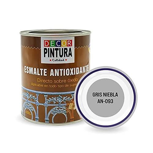 Pintura Gris Niebla Antioxidante Exterior para Metal minio Pinturas Esmalte Antioxido para galvanizado, hierro, forja, barandilla, chapa para interiores y exteriores - Lata 750ml