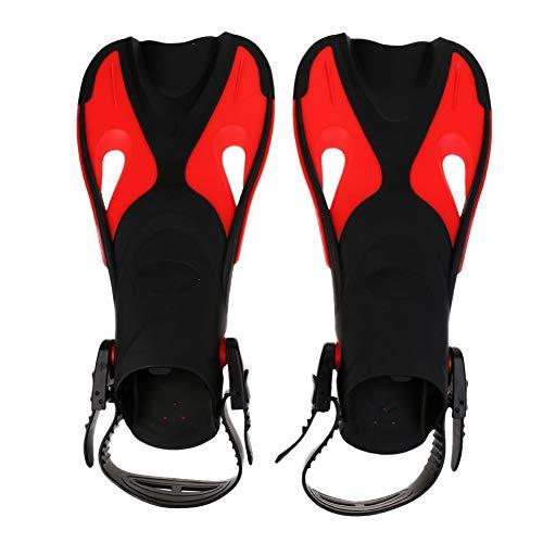 Kinderschwimmflosse Kurze Klingen Schnorchel Schwimmflossen Trainingsflossen für Kinder im Freien Tauchen Schwimmtraining - Schwarz Rot L/XL