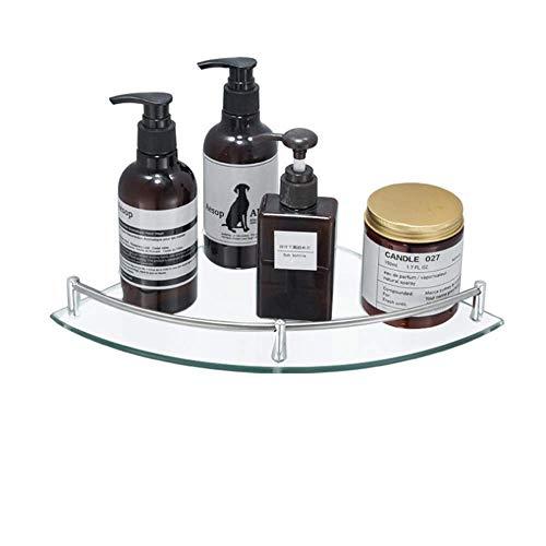 Soporte de esquina de cristal grueso para baño o ducha de vidrio triangular estante organizador de una sola capa estilo moderno estantes de baño champú almacenamiento para almacenamiento de baño