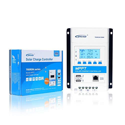 Epver MPPT Solarladeregler 10A 12V / 24V Auto max. Modularer PV 60V Solarpanel-Regler con LED y LCD Anzeige Doppel-USB-Anschluss (TRIRON1206N)
