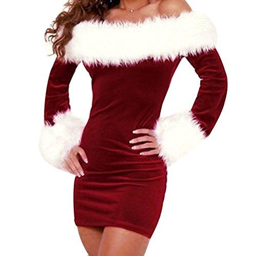 LAEMILIA Damen Kostüm Weihnachtsfrau Weihnachtskleid Schulterfrei MInikleid Cosplay Weihnachtsmann (Rot)
