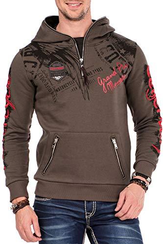 Cipo & Baxx Herren Kapuzenpullover Hoodie Zipper Sweatpullover Langarmshirt Sweatshirt Khaki Gr.XL