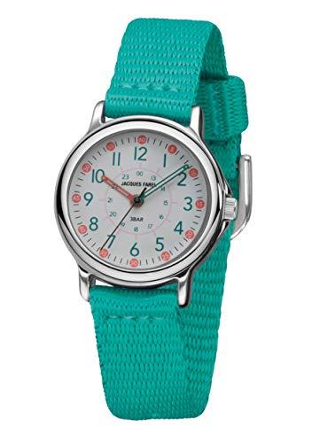 JACQUES FAREL KCF 012 - Reloj de pulsera analógico para niña (correa de tela, correa de tela, muy suave, metal), color verde turquesa