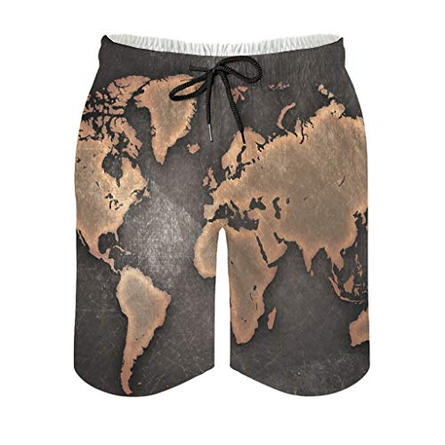kikomia Grunge World Map Digital Art Print Abstract Men's Shorts with Pockets, mens, White, 4XL