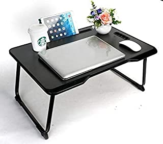 Baodan Laptop Bed Table, Foldable Lap Standing Desk Breakfast Serving Bed Tray Dorm Desk with Handle Cup Slot Notebook Sta...