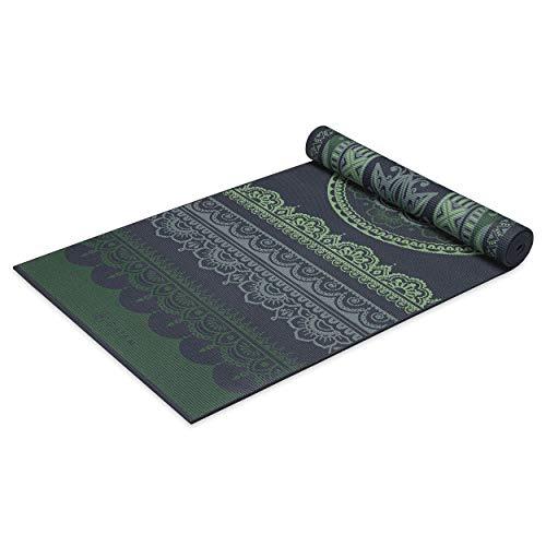 Gaiam Yoga Mat Premium Print Reversible Extra Thick Non Slip Exercise & Fitness Mat for All Types of Yoga, Pilates & Floor Workouts, Boho Folk, 6mm